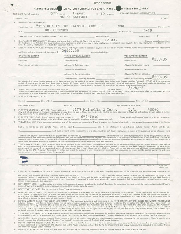 Image 3 for Ralph Bellamy - Contract Signed 08/19/1976 - HFSID 276786