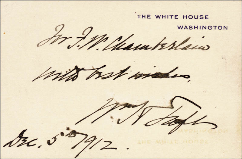 Image 1 for President William H. Taft - Autograph Note On White House Card Signed 12/05/1912 - HFSID 27682