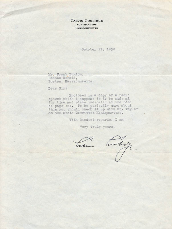Image 1 for President Calvin Coolidge - Typed Letter Signed 10/27/1930 - HFSID 27685