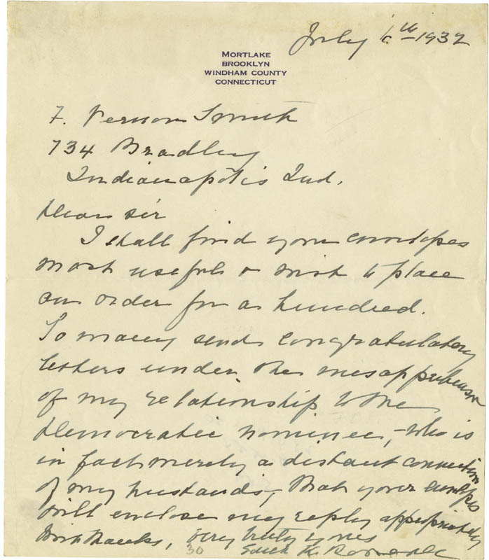 Image 1 for First Lady Edith K. Roosevelt - Autograph Letter Signed 07/06/1932 - HFSID 276890