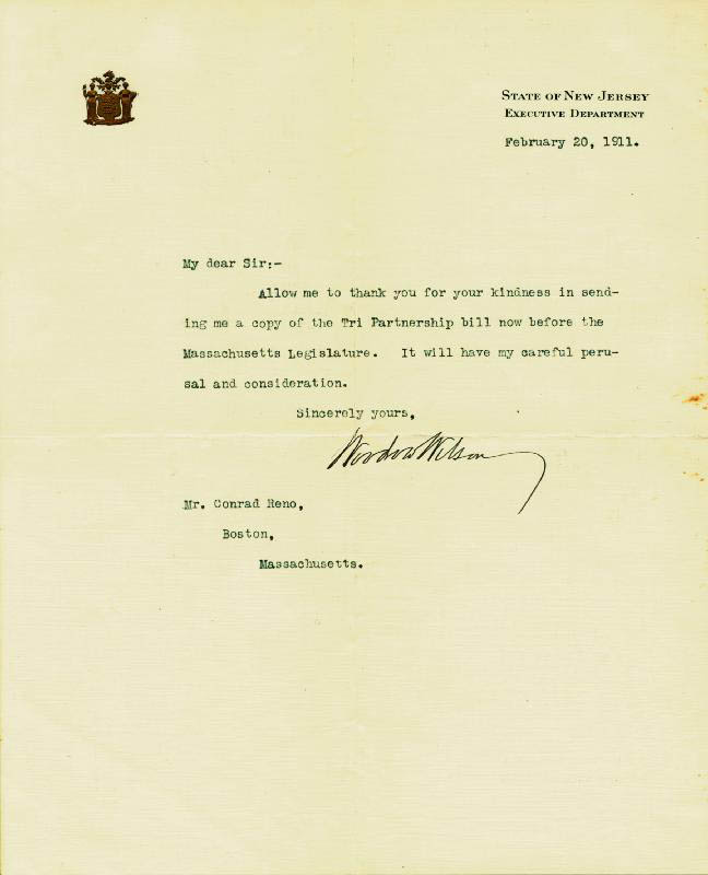 Image 1 for President Woodrow Wilson - Typed Letter Signed 02/20/1911 - HFSID 27690