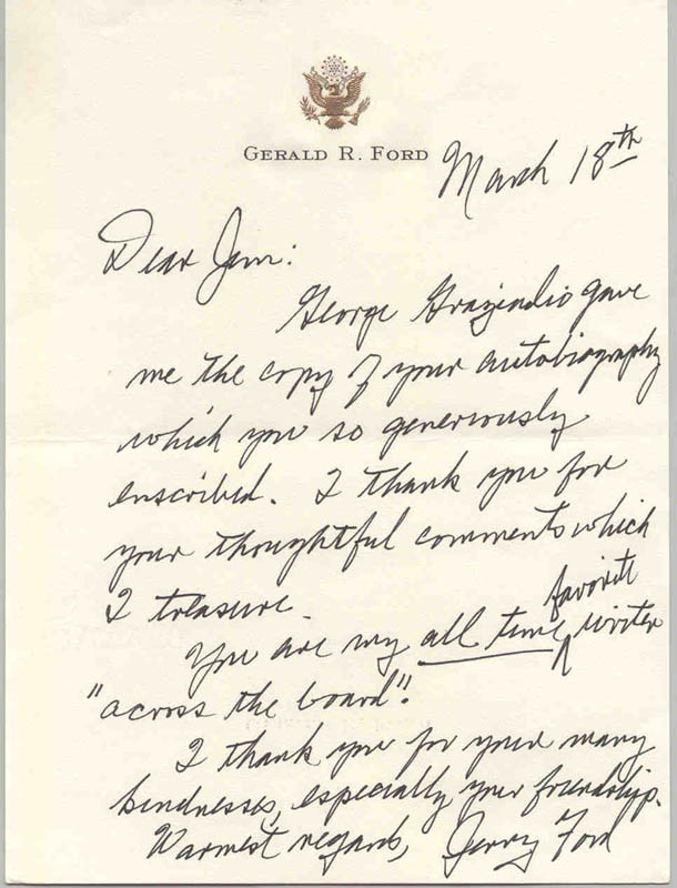 Image 1 for President Gerald R. Ford - Autograph Letter Signed Circa 1993 - HFSID 277258
