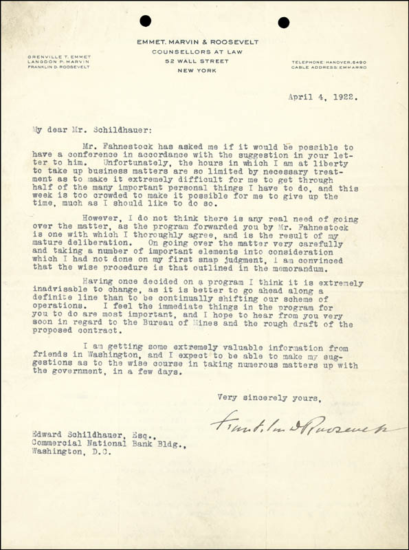 Image 1 for President Franklin D. Roosevelt - Typed Letter Signed 04/04/1922 - HFSID 27726