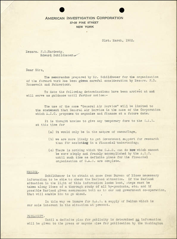 Image 3 for President Franklin D. Roosevelt - Typed Letter Signed 04/04/1922 - HFSID 27726