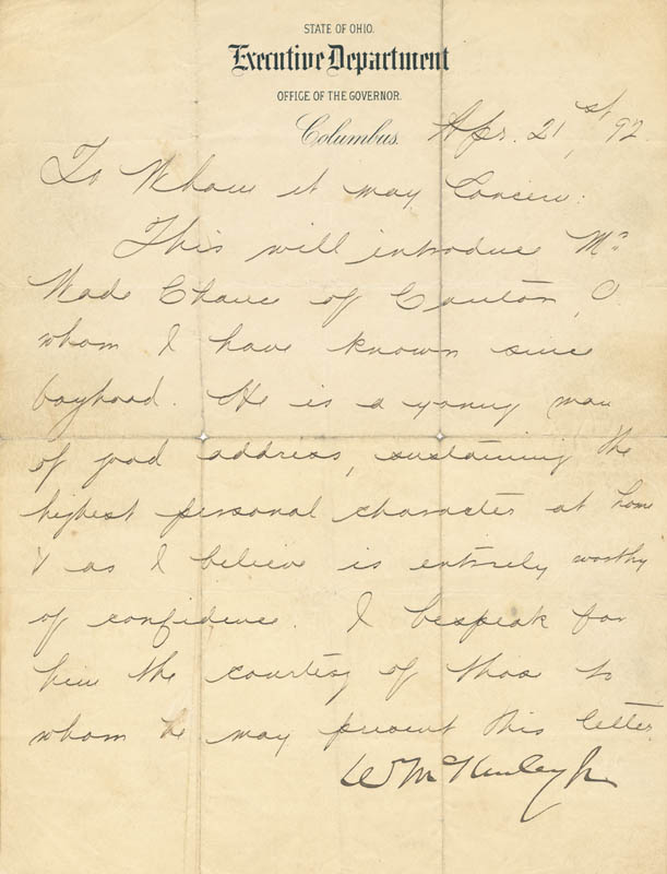 Image 1 for President William Mckinley - Manuscript Letter Signed 04/21/1892 - HFSID 27735