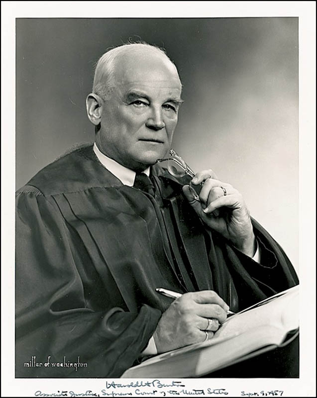 Image 1 for Associate Justice Harold H. Burton - Autographed Signed Photograph 09/09/1957 - HFSID 277356