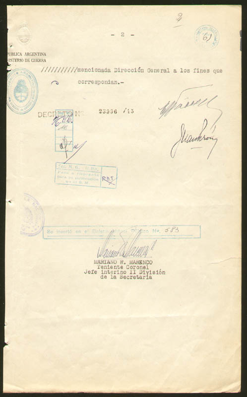 Image 1 for President Juan D. Peron (Argentina) - Document Signed 10/04/1945 co-signed by: Major General Edelmiro Julian Farrell - HFSID 277562