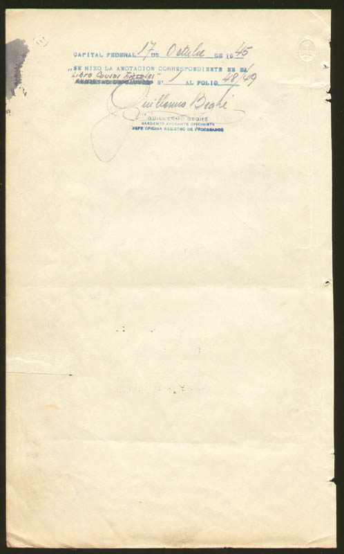 Image 3 for President Juan D. Peron (Argentina) - Document Signed 10/04/1945 co-signed by: Major General Edelmiro Julian Farrell - HFSID 277562
