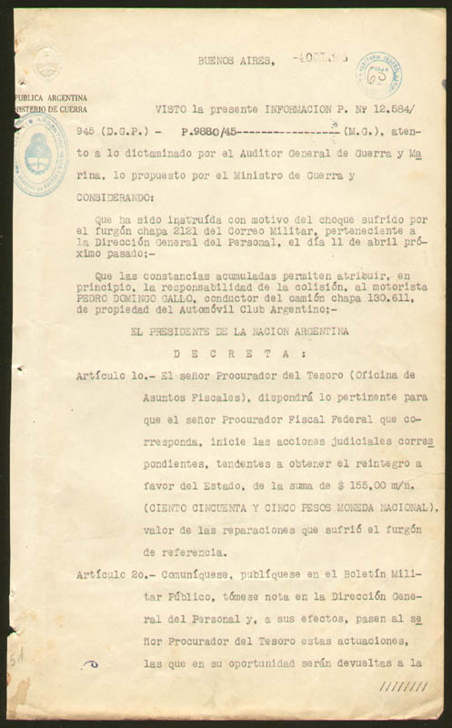Image 4 for President Juan D. Peron (Argentina) - Document Signed 10/04/1945 co-signed by: Major General Edelmiro Julian Farrell - HFSID 277562