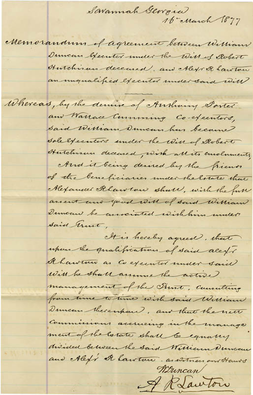 Image 1 for Brigadier General Alexander R. Lawton - Manuscript Document Signed 03/16/1877 - HFSID 277589