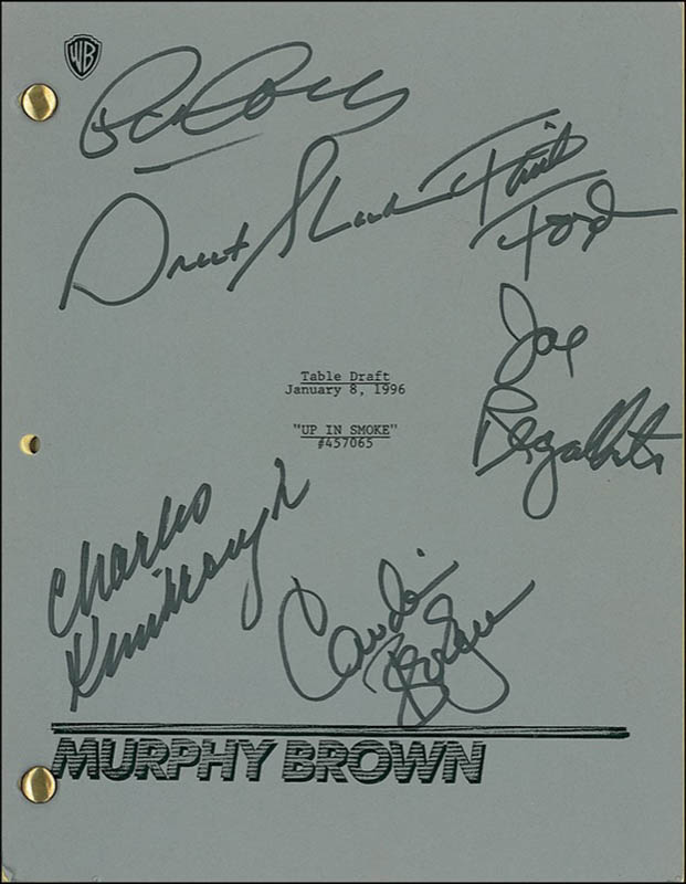 Image 1 for Murphy Brown TV Cast - Script Signed co-signed by: Pat Corley, Faith Ford, Charles Kimbrough, Joe Regalbuto, Grant Shaud, Candice Bergen - HFSID 277638