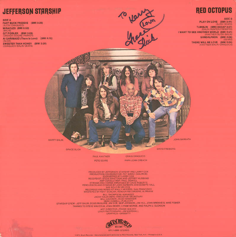 Image 1 for Jefferson Airplane (Grace Slick) - Inscribed Record Album Sleeve Signed - HFSID 277669