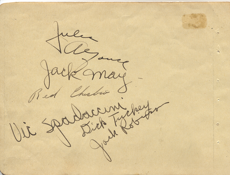 Image 1 for Jackie Robinson - Autograph co-signed by: Dick Tuckey, Red Chesbro, Jack May, Vic Spadaccini, Julie Alfonse - HFSID 277710