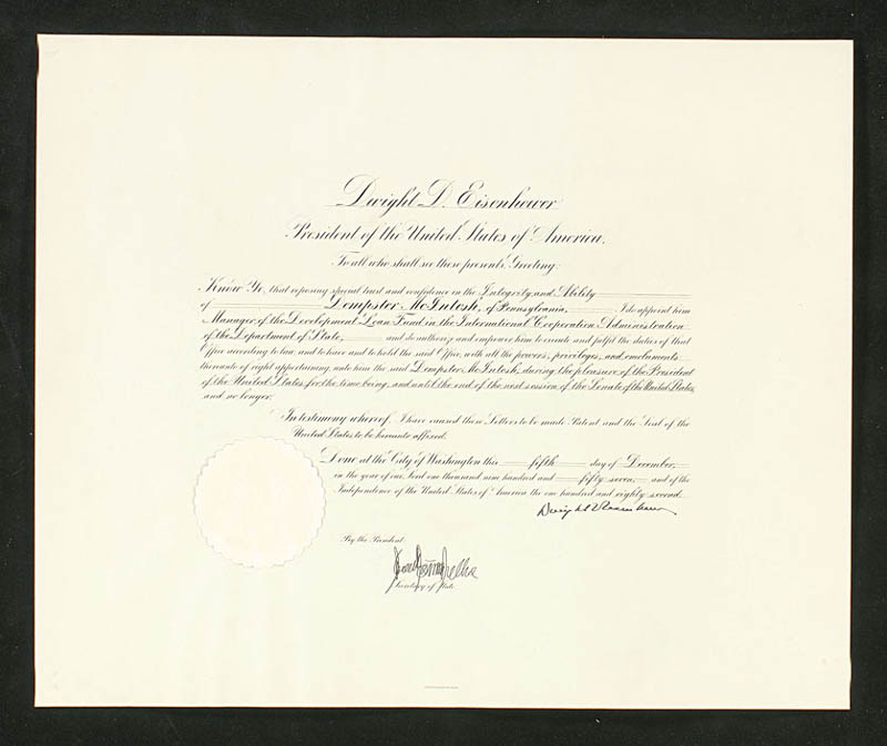 Image 1 for President Dwight D. Eisenhower - Civil Appointment Signed 12/05/1957 - HFSID 277778