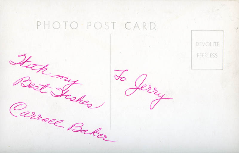 Image 3 for Carroll Baker - Inscribed Picture Postcard Signed - HFSID 277871