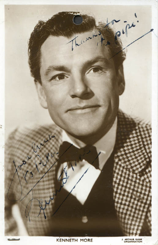 Image 1 for Kenneth More - Inscribed Picture Postcard Signed - HFSID 277882