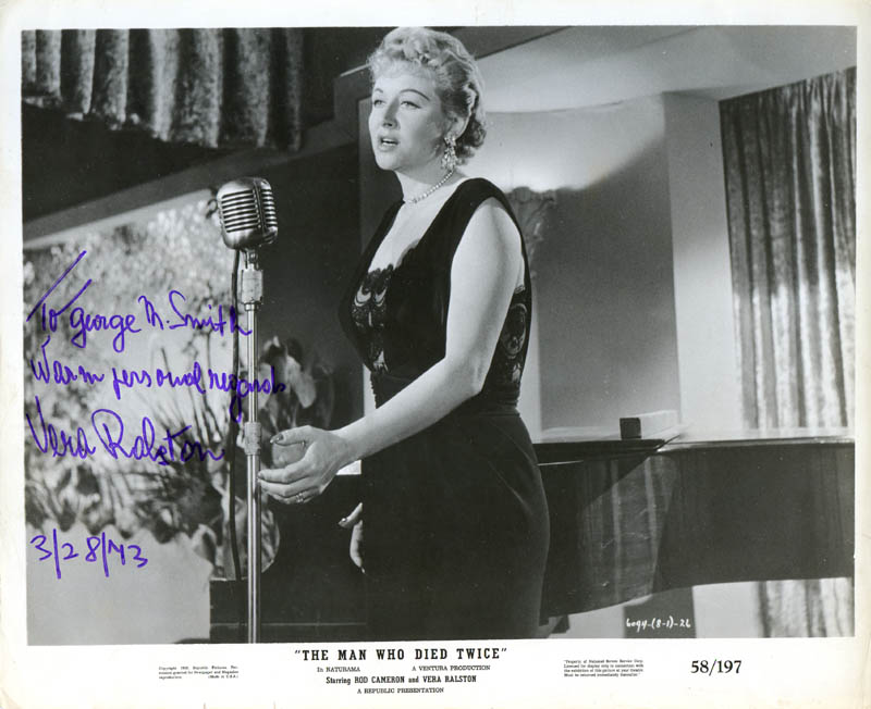 Image 1 for Vera H. Ralston - Autographed Inscribed Photograph 03/28/1973 - HFSID 277902
