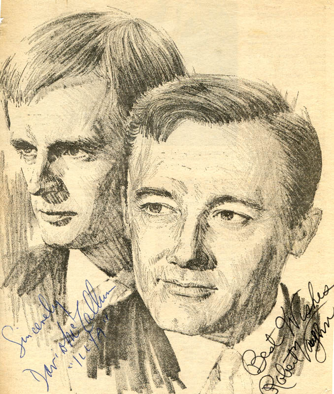 Image 1 for The Man From U.N.C.L.E. TV Cast - Newspaper Photograph Signed co-signed by: David Mccallum, Robert Vaughn - HFSID 278050