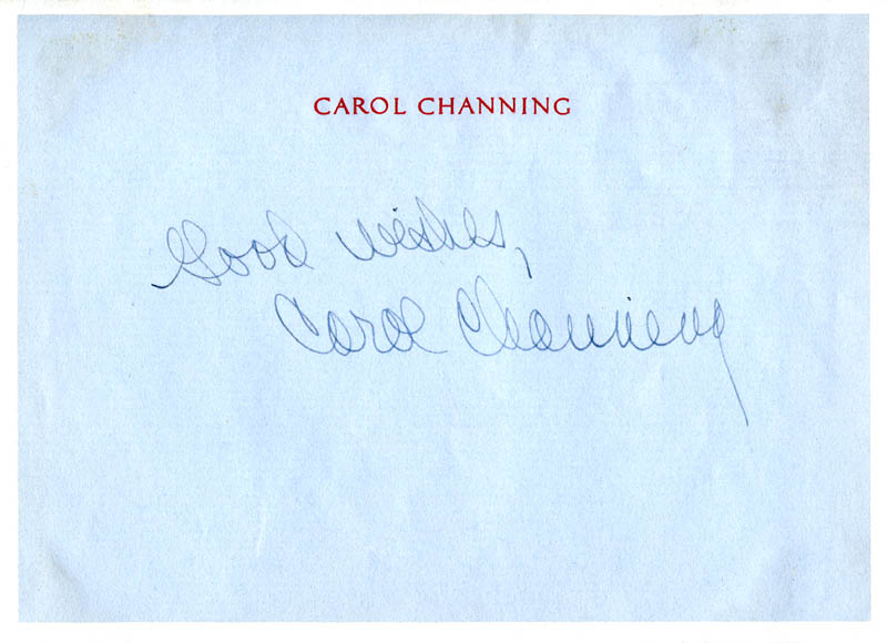 Image 1 for Carol Channing - Autograph Sentiment Signed - HFSID 278164