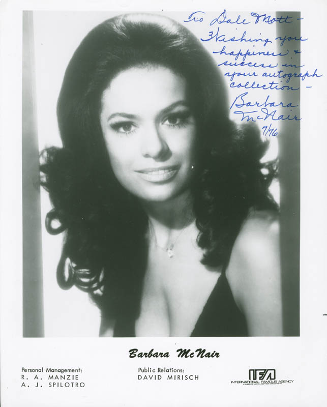 Image 1 for Barbara Mcnair - Autographed Inscribed Photograph 7/1976 - HFSID 278225