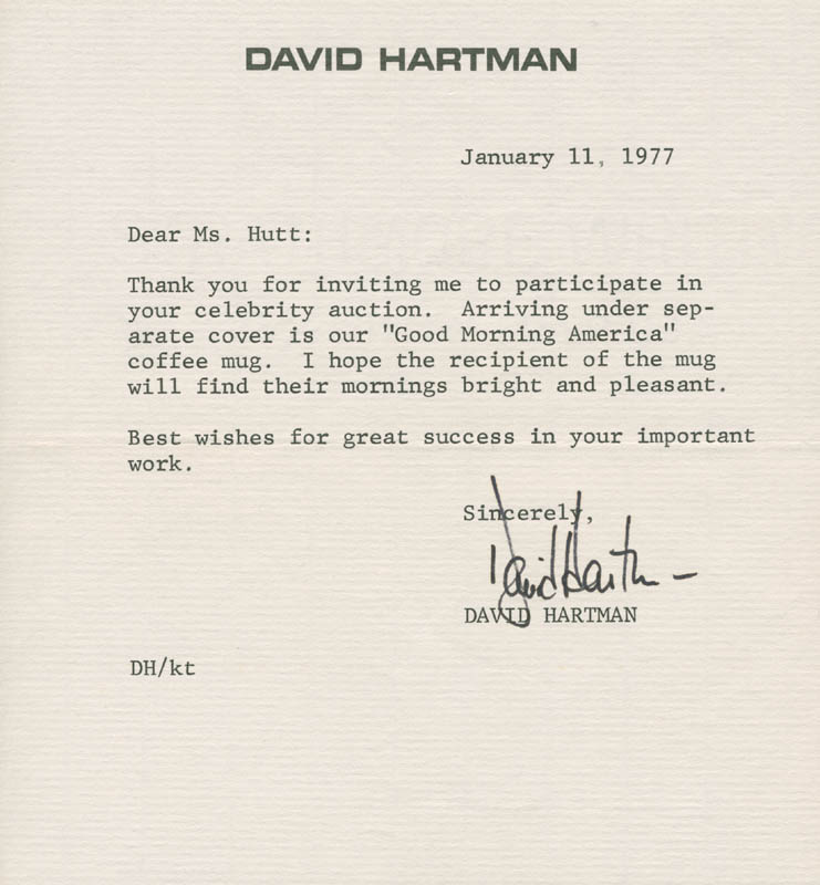 Image 1 for David D. Hartman - Typed Letter Signed 01/11/1977 - HFSID 278328
