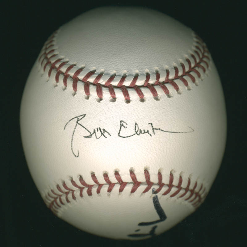 Image 1 for President William J. 'Bill' Clinton - Autographed Signed Baseball co-signed by: First Lady Hillary Rodham Clinton - HFSID 278480
