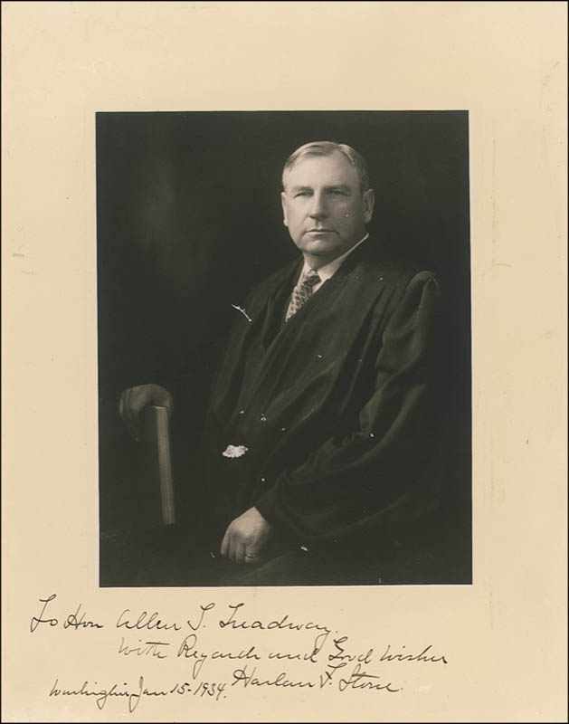 Image 1 for Chief Justice Harlan F. Stone - Autographed Inscribed Photograph 01/15/1934 - HFSID 278481
