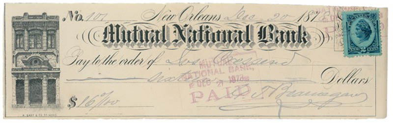 Image 1 for General Pierre G.T. Beauregard - Autographed Signed Check 12/20/1878 - HFSID 278504