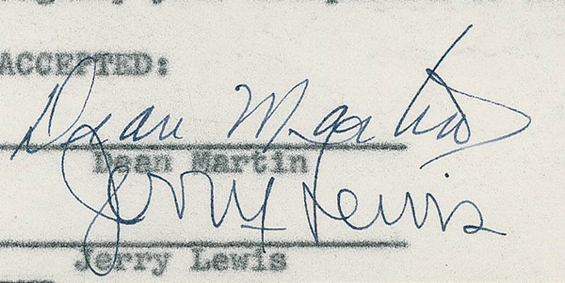 Image 3 for Martin & Lewis - Contract Signed 07/13/1950 co-signed by: Dean Martin, Jerry Lewis - HFSID 278506
