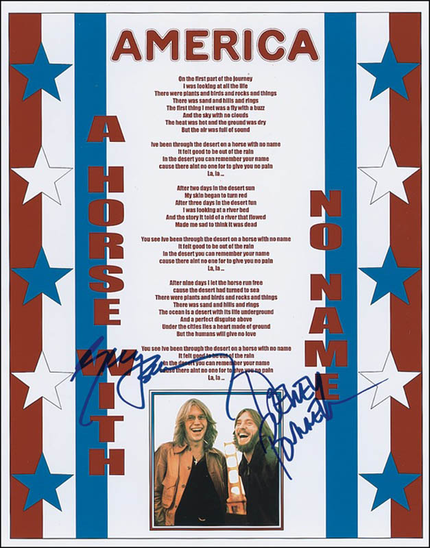 Image 1 for America - Autographed Signed Poster co-signed by: America (Gerry Beckley), America (Dewey Bunnell) - HFSID 278516