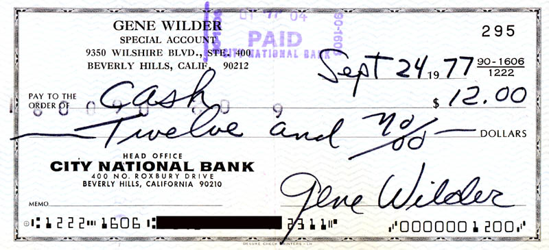 Image 1 for Gene Wilder - Autographed Signed Check 09/24/1977 - HFSID 278535