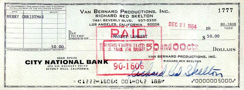 Image 1 for Red Skelton - Autographed Signed Check 12/21/1964 - HFSID 278541