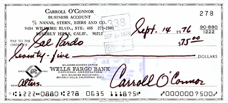 Image 1 for Carroll O'Connor - Autographed Signed Check 09/14/1976 - HFSID 278559