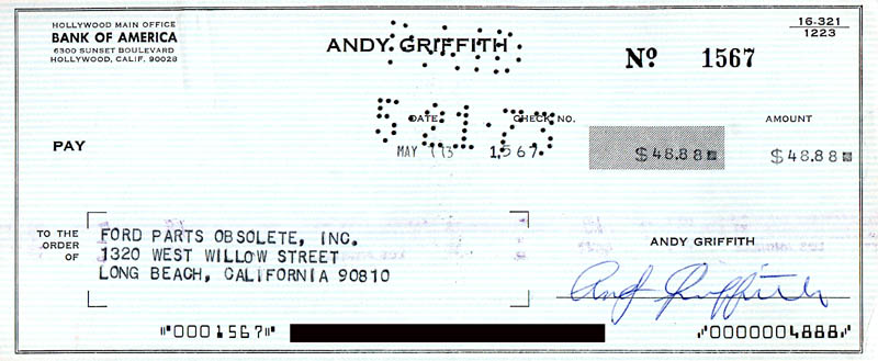 Image 1 for Andy Griffith - Autographed Signed Check 05/07/1973 - HFSID 278564