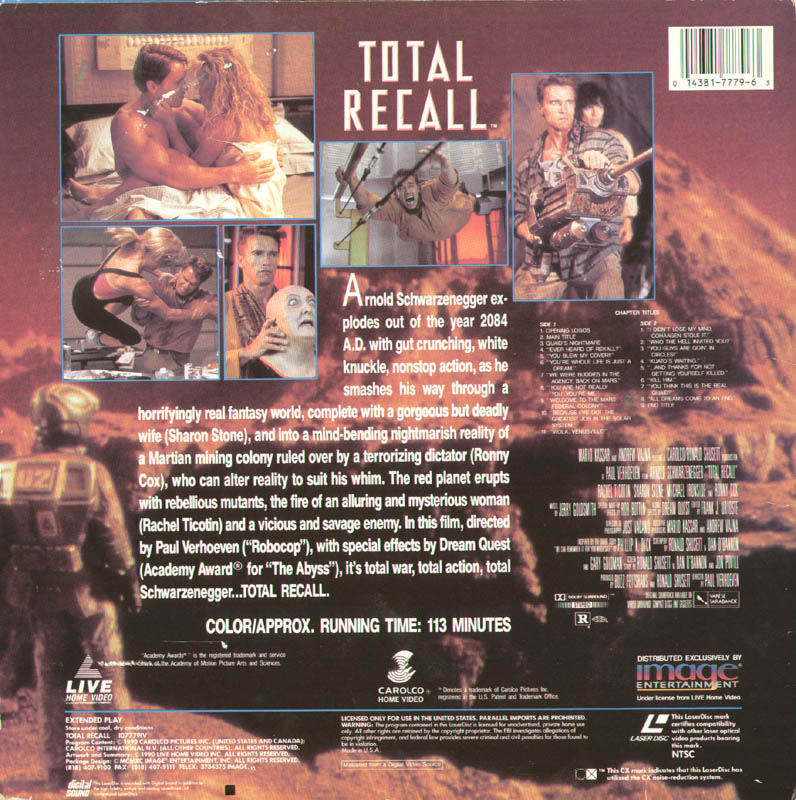 Image 3 for Total Recall Movie Cast - Laser Media Cover Signed co-signed by: Arnold Schwarzenegger, Paul Verhoeven - HFSID 278626