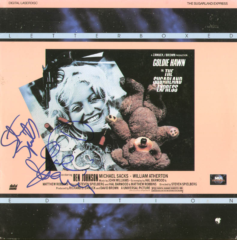 Image 1 for Sugarland Express Movie Cast - Laser Media Cover Signed co-signed by: Steven Spielberg, Goldie Hawn - HFSID 278648