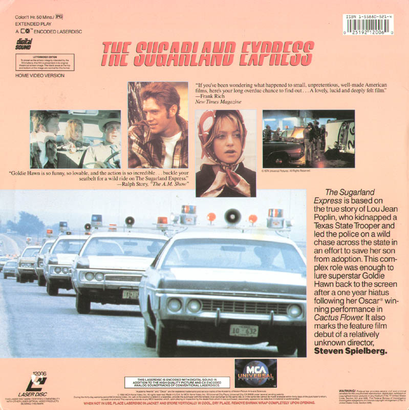Image 3 for Sugarland Express Movie Cast - Laser Media Cover Signed co-signed by: Steven Spielberg, Goldie Hawn - HFSID 278648