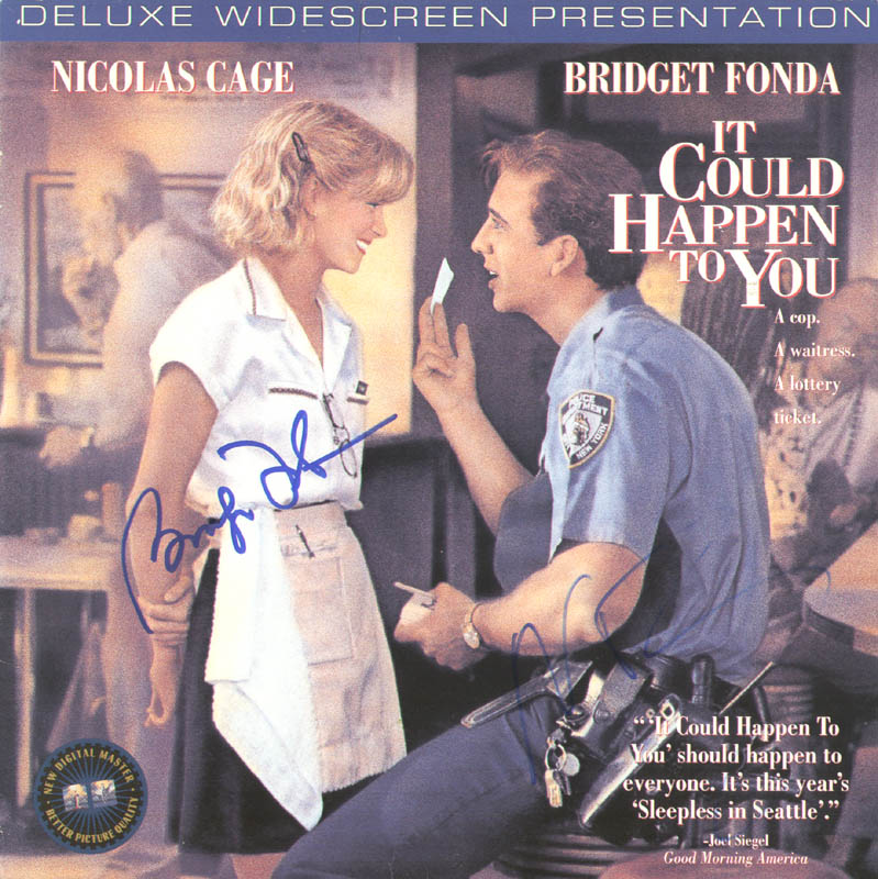Image 1 for It Could Happen To You Movie Cast - Laser Media Cover Signed co-signed by: Nicolas Cage, Bridget Fonda - HFSID 278650