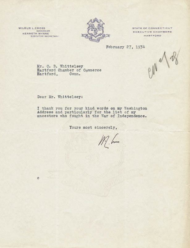 Image 1 for Governor Wilbur L. Cross - Typed Letter Signed 02/27/1934 - HFSID 27873