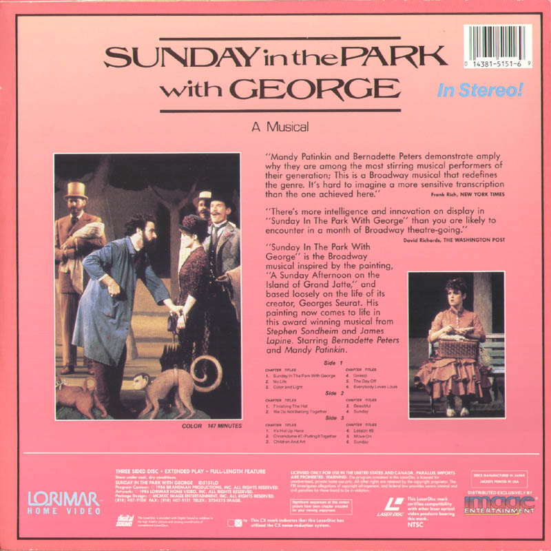 Image 3 for Sunday In The Park With George Movie Cast - Laser Media Cover Signed co-signed by: Bernadette Peters, Mandy Patinkin - HFSID 278740