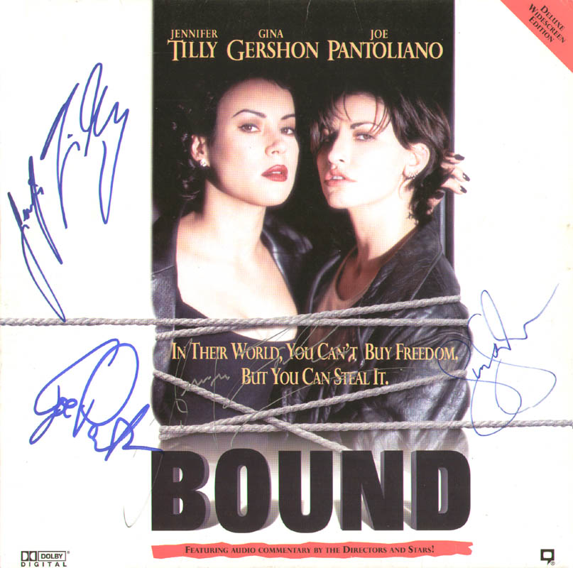 Image 1 for Bound Movie Cast - Laser Media Cover Signed co-signed by: Jennifer Tilly, Joe Pantoliano, Gina Gershon - HFSID 278754