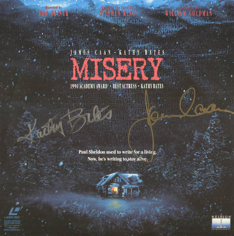 Image 1 for Misery Movie Cast - Laser Media Cover Signed co-signed by: Kathy Bates, James Caan - HFSID 278768