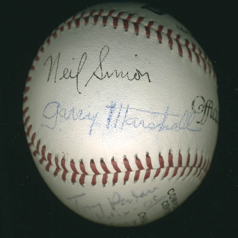 Image 3 for The Odd Couple TV Cast - Autographed Signed Baseball 01/19/1997 co-signed by: Neil 'Doc' Simon, Garry Marshall, Jack Klugman, Tony Randall - HFSID 278896