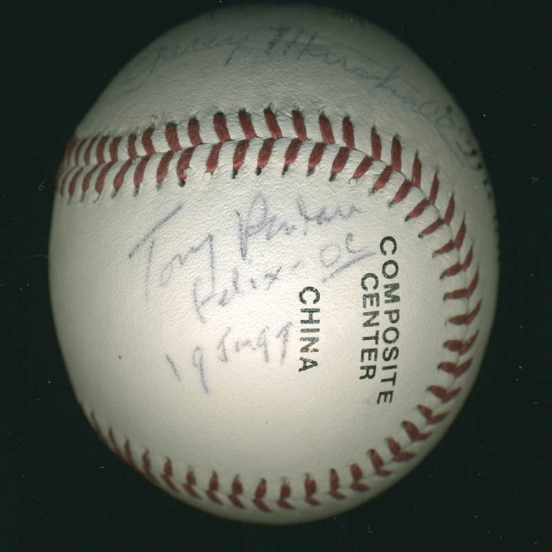Image 4 for The Odd Couple TV Cast - Autographed Signed Baseball 01/19/1997 co-signed by: Neil 'Doc' Simon, Garry Marshall, Jack Klugman, Tony Randall - HFSID 278896