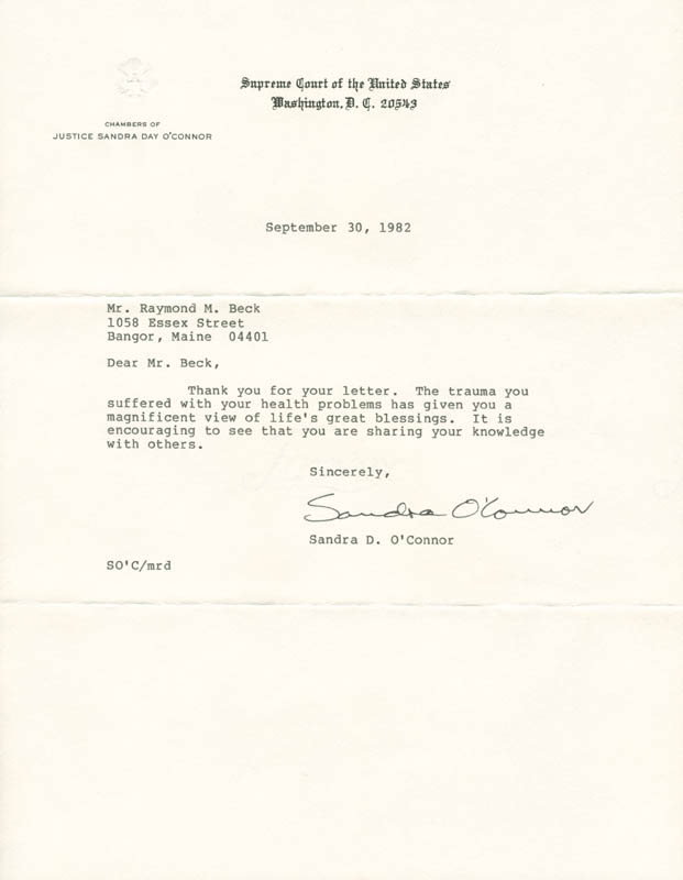 Image 1 for Associate Justice Sandra Day O'Connor - Typed Letter Signed 09/30/1982 - HFSID 279002