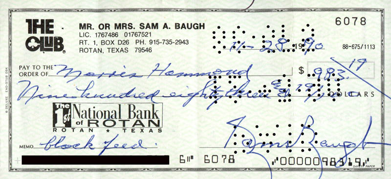 Image 1 for Sammy Baugh - Autographed Signed Check 11/28/1990 - HFSID 279272