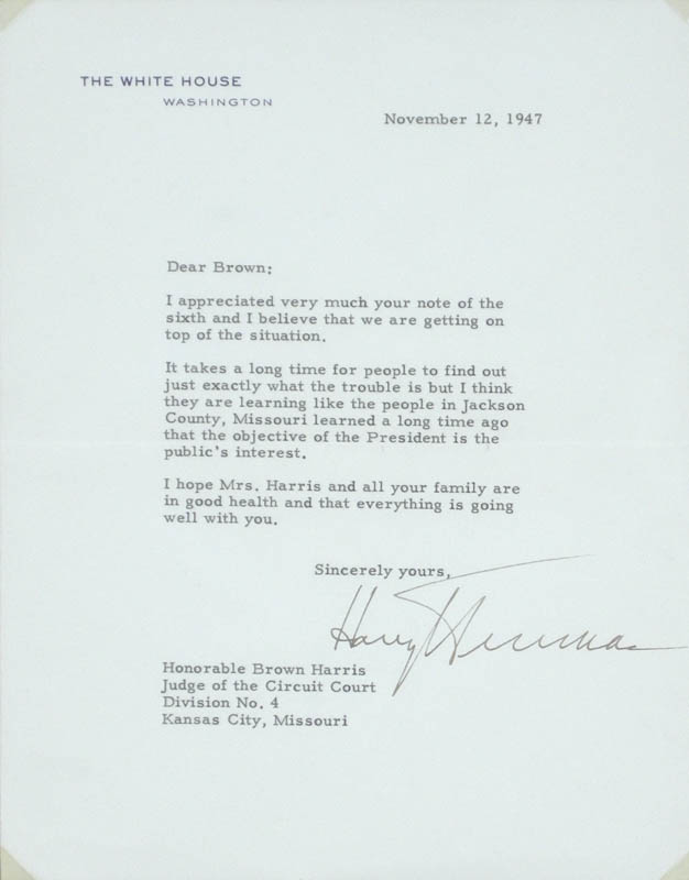 Image 3 for President Harry S Truman - Typed Letter Signed 11/12/1947 - HFSID 279315