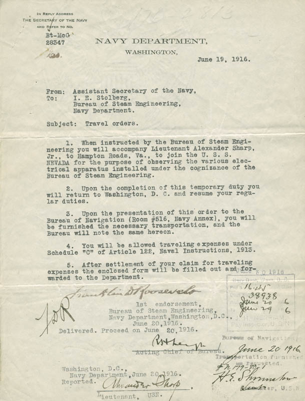 Image 1 for President Franklin D. Roosevelt - Typed Letter Signed 06/19/1916 co-signed by: Admiral William S. Sims - HFSID 279322