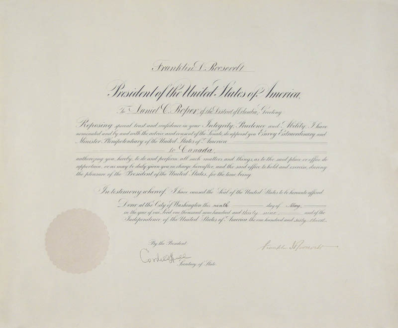 Image 1 for President Franklin D. Roosevelt - Civil Appointment Signed 05/09/1939 co-signed by: Cordell Hull - HFSID 279339