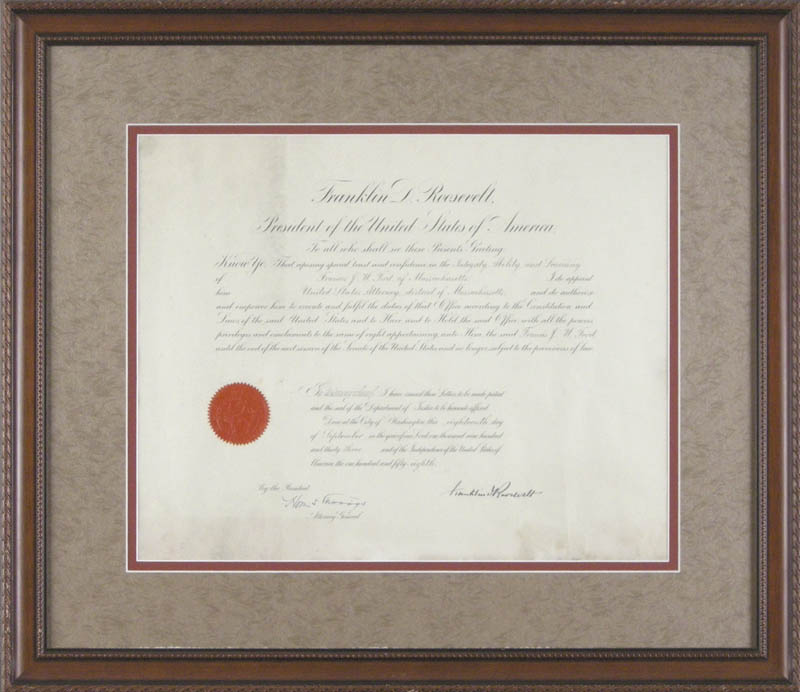 Image 1 for President Franklin D. Roosevelt - Civil Appointment Signed 09/18/1933 co-signed by: Homer S. Cummings - HFSID 279373